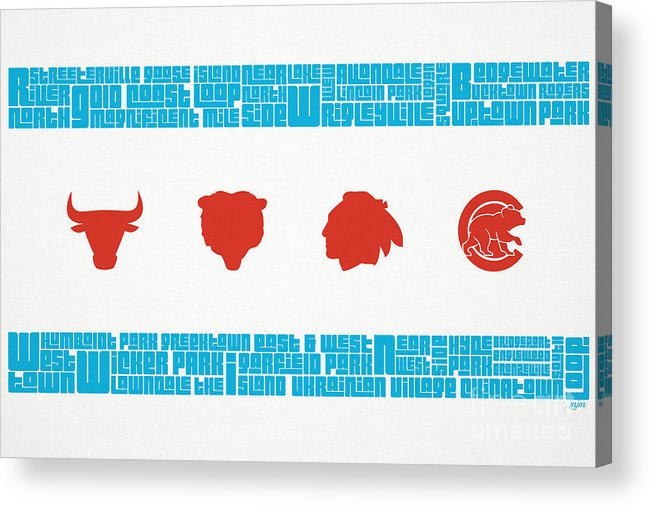 Chicago Acrylic Print featuring the mixed media Chicago Flag Sports Teams by Mike Maher