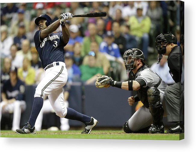 American League Baseball Acrylic Print featuring the photograph Chicago White Sox V Milwaukee Brewers by Mike Mcginnis