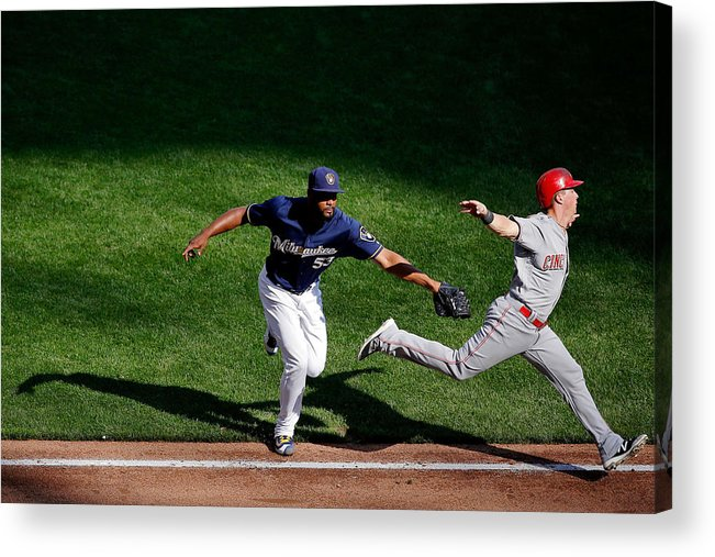 American League Baseball Acrylic Print featuring the photograph Cincinnati Reds V Milwaukee Brewers by Jon Durr