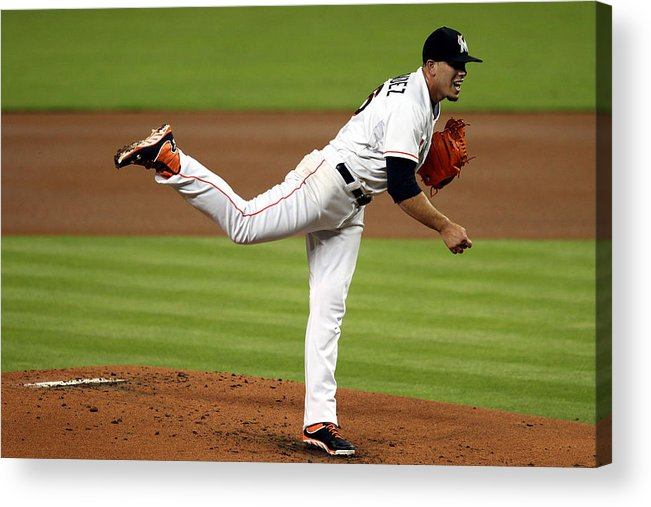 People Acrylic Print featuring the photograph Cleveland Indians V Miami Marlins by Marc Serota