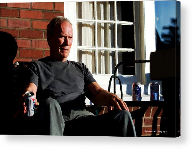 Clint Eastwood Acrylic Print featuring the digital art Clint Eastwood @ Grand Torino- 2 by Gabriel T Toro