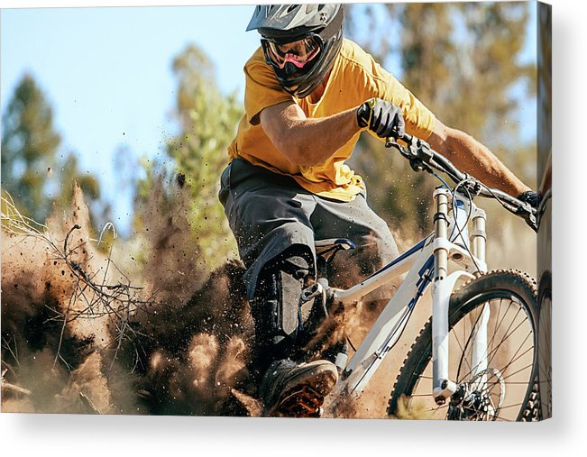 Headwear Acrylic Print featuring the photograph Close Up Of A Mountain Biker Ripping by Daniel Milchev