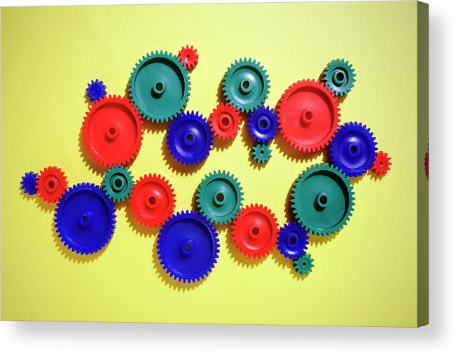 Working Acrylic Print featuring the photograph Colored Gears by Joseph Clark
