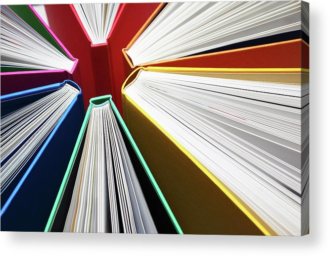 Expertise Acrylic Print featuring the photograph Colorful Books Abstract by Blackred