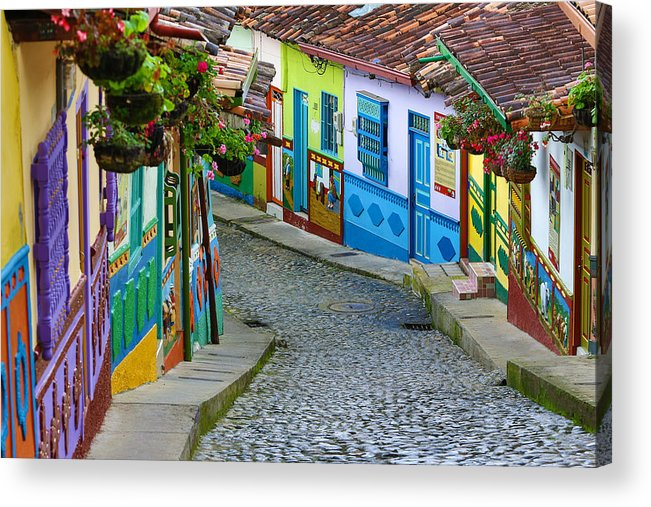 Built Structure Acrylic Print featuring the photograph colourful architecture in Guatape by Barna Tanko