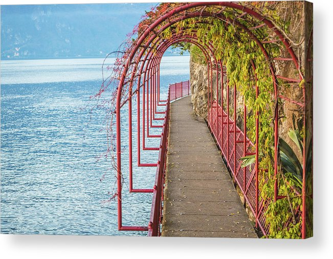 Non-urban Scene Acrylic Print featuring the photograph Como District Lake, Varenna by Deimagine