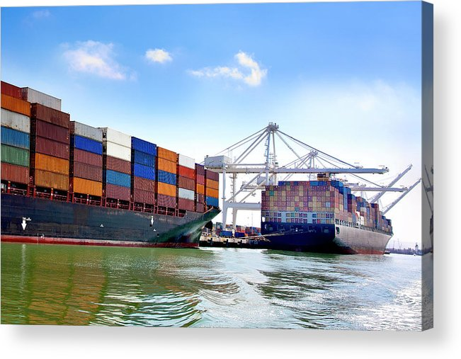 Trading Acrylic Print featuring the photograph Container Ships Docked At Port by Geri Lavrov