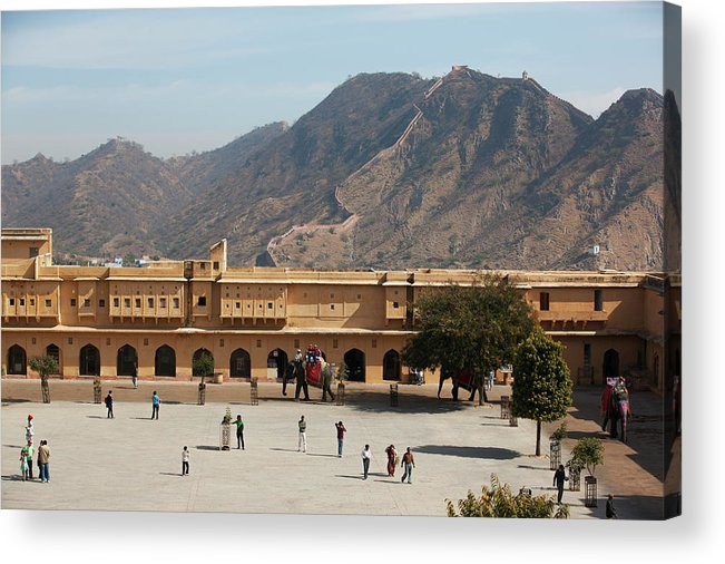 Shadow Acrylic Print featuring the photograph Courtyard Of Amer Fort, Rajasthan by Bjarte Rettedal