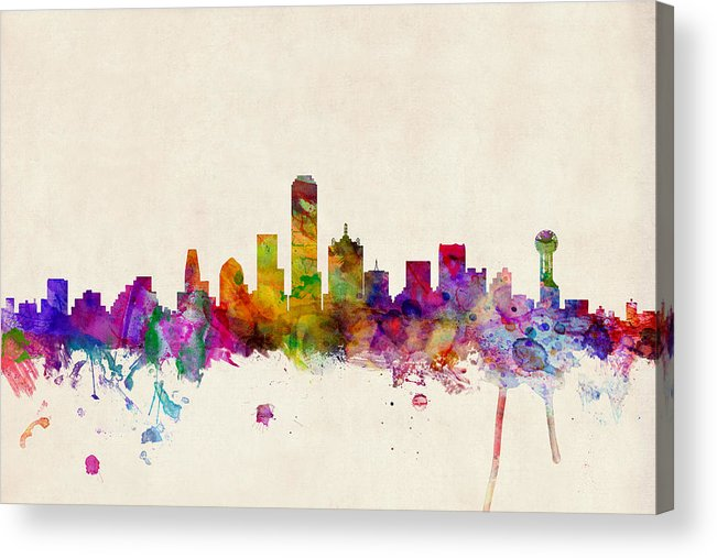 Watercolour Acrylic Print featuring the digital art Dallas Texas Skyline by Michael Tompsett