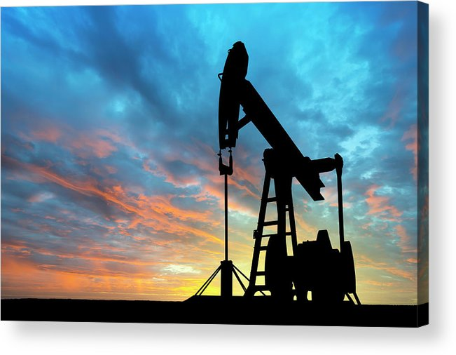 Shadow Acrylic Print featuring the photograph Dawn Over Petroleum Pump by Grafissimo