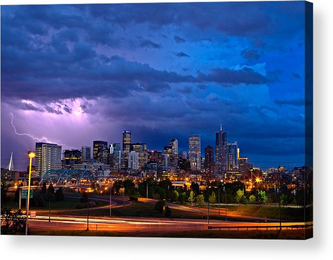 Landscape Acrylic Print featuring the photograph Denver Skyline by John K Sampson