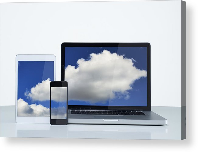 White Background Acrylic Print featuring the photograph Digital cloud by John Lamb