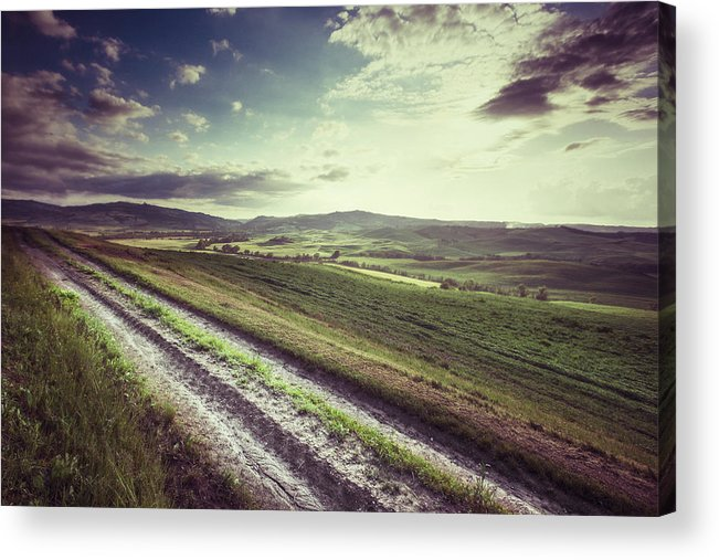 Steppe Acrylic Print featuring the photograph Dirt Track In Tuscany by Xavierarnau