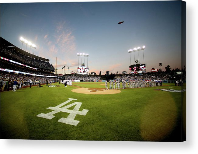 American League Baseball Acrylic Print featuring the photograph Division Series - New York Mets V Los by Stephen Dunn