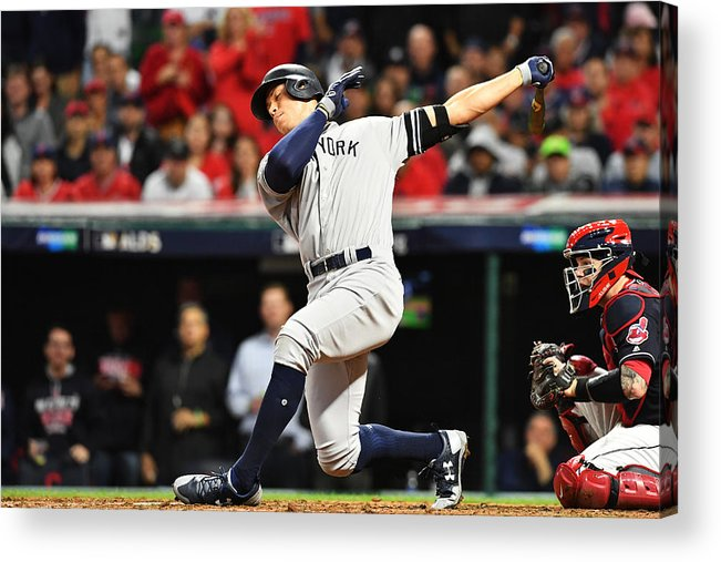 People Acrylic Print featuring the photograph Divisional Round - New York Yankees v Cleveland Indians - Game Five by Jason Miller