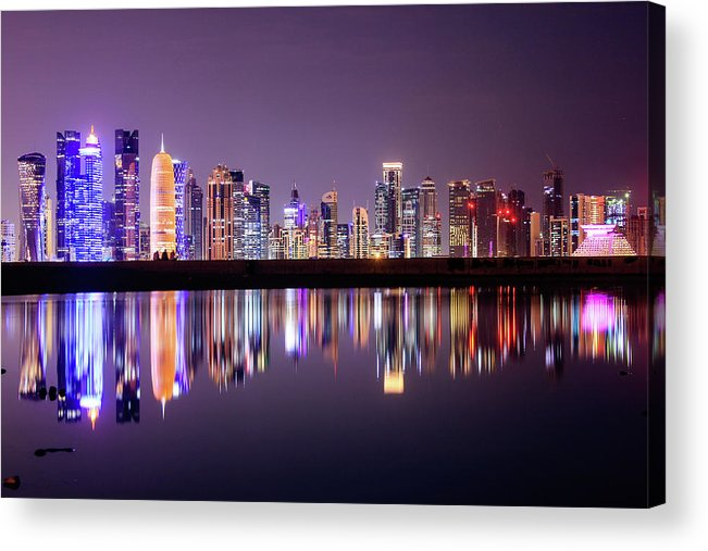 West Bay Acrylic Print featuring the photograph Doha Skyscrapers by Photography By Lubaib Gazir