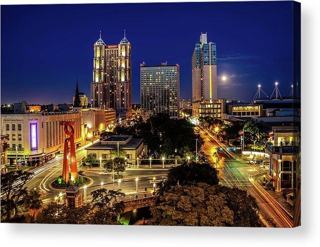 Downtown District Acrylic Print featuring the photograph Downtown San Antonio by John Cabuena Flipintex Fotod