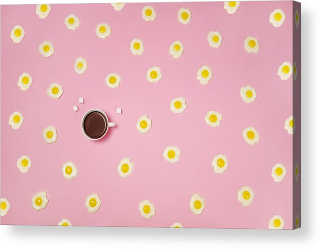 Breakfast Acrylic Print featuring the photograph Eggs With Coffee Cup On Pink Background by Juj Winn
