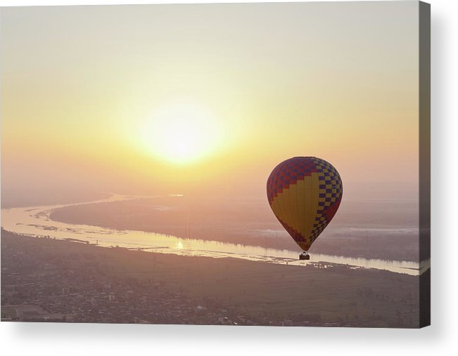 Luxor Acrylic Print featuring the photograph Egypt, View Of Hot Air Balloon Over by Westend61
