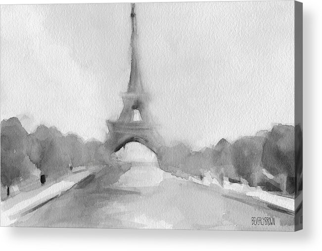 Paris Acrylic Print featuring the painting Eiffel Tower Watercolor Painting - Black And White by Beverly Brown Prints