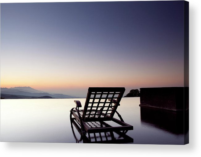 Tranquility Acrylic Print featuring the photograph Empty Seat On An Infinity Pool Facing by Marcaux