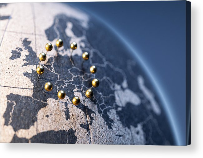Globe Acrylic Print featuring the photograph European Union - Golden pins on cork board globe by ThomasVogel