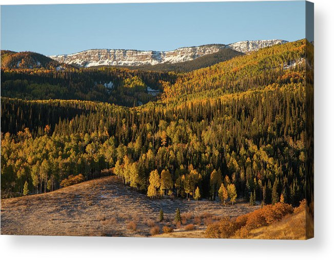 Tranquility Acrylic Print featuring the photograph Fall Foliage And Snow-dusted Peaks by Karen Desjardin