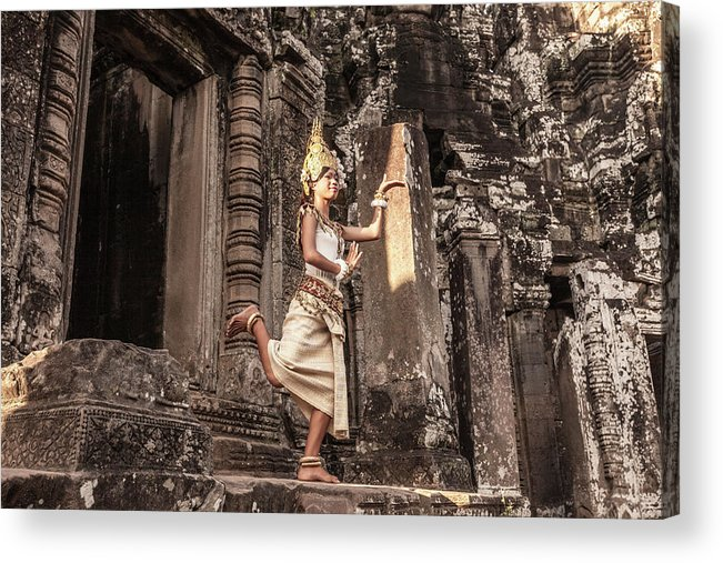 Hinduism Acrylic Print featuring the photograph Female Apsara Dancer, Standing On One by Cultura Exclusive/gary Latham