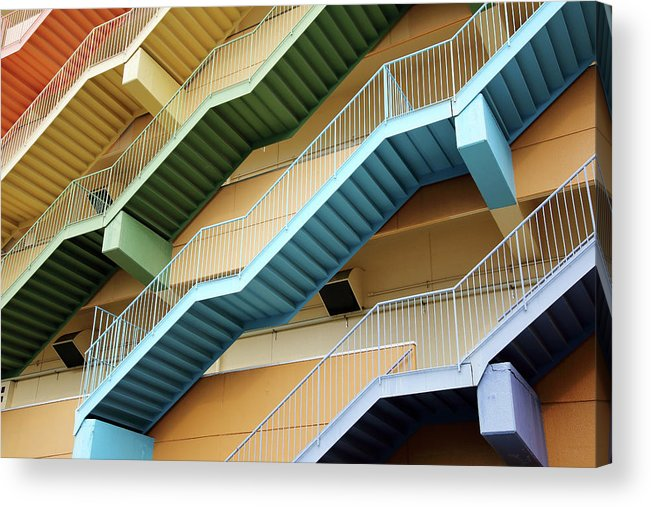 Steps Acrylic Print featuring the photograph Fire Escape Stairs by Akiyoko