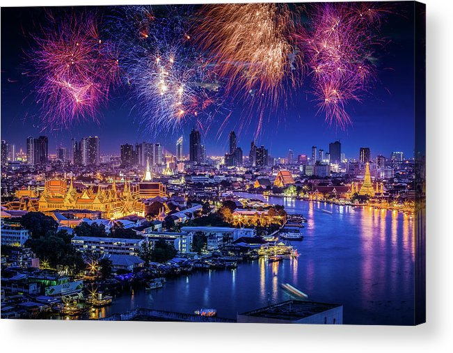 Mother's Day Acrylic Print featuring the photograph Fireworks Above Bangkok City by Natapong Supalertsophon