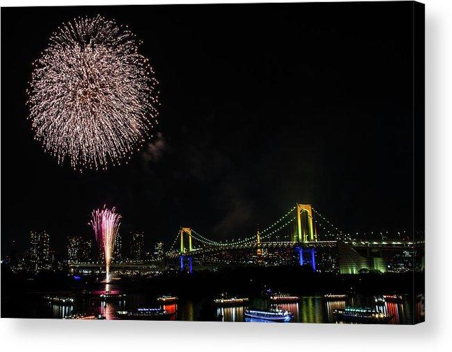 Firework Display Acrylic Print featuring the photograph Fireworks At Rainbow Bridge by ©alan Nee
