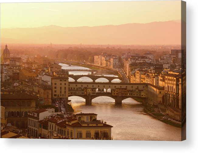 Campanile Acrylic Print featuring the photograph Florence City During Golden Sunset by Dragos Cosmin Photos
