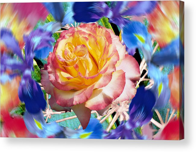 Flowers Acrylic Print featuring the digital art Flower Dance 2 by Lisa Yount