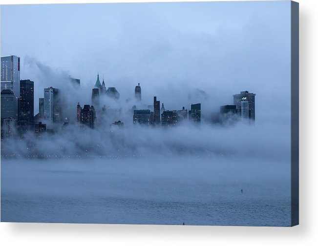 Dawn Acrylic Print featuring the photograph Foggy New York City by Laverrue Was Here