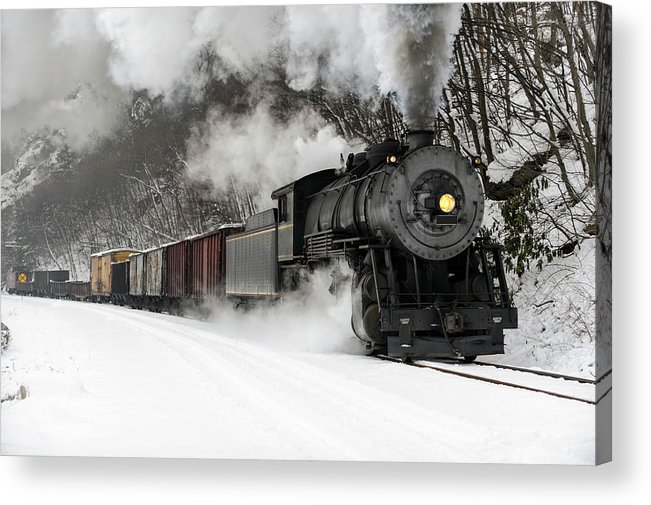 Scenics Acrylic Print featuring the photograph Freight Train With Steam Locomotive by Catnap72
