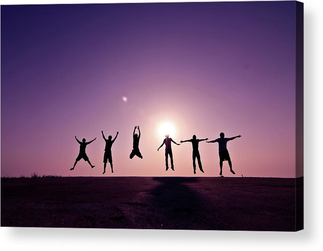 Human Arm Acrylic Print featuring the photograph Friends Jumping Against Sunset by Kazi Sudipto Photography