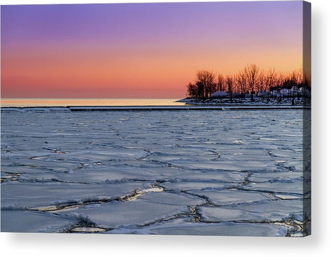Scenics Acrylic Print featuring the photograph Frozen Lake Ontario Sunset by Frank Lee