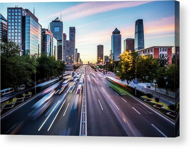 Scenics Acrylic Print featuring the photograph Futuristic City At Dusk by Itsskin