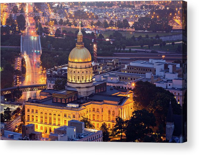 Atlanta Acrylic Print featuring the photograph Georgia State Capitol At Night by Ryan Murphy