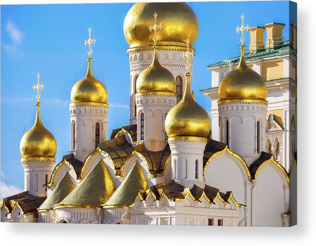 Annunciation Acrylic Print featuring the photograph Golden Domes Of The Russian Church by Mordolff