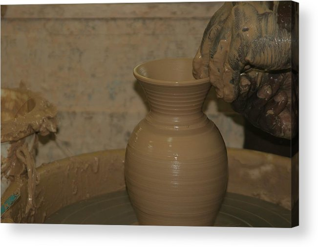 Pottery Acrylic Print featuring the photograph Hands of the Potter by Dervent Wiltshire