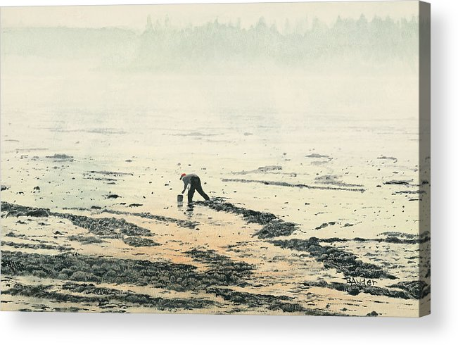Maine Acrylic Print featuring the painting Harvesting the Flats by Brent Ander
