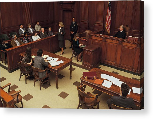 Crowd Acrylic Print featuring the photograph High angle view of courtroom by Comstock
