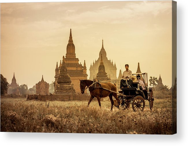 Horse Acrylic Print featuring the photograph Horse And Carriage Turning By Temples by Merten Snijders