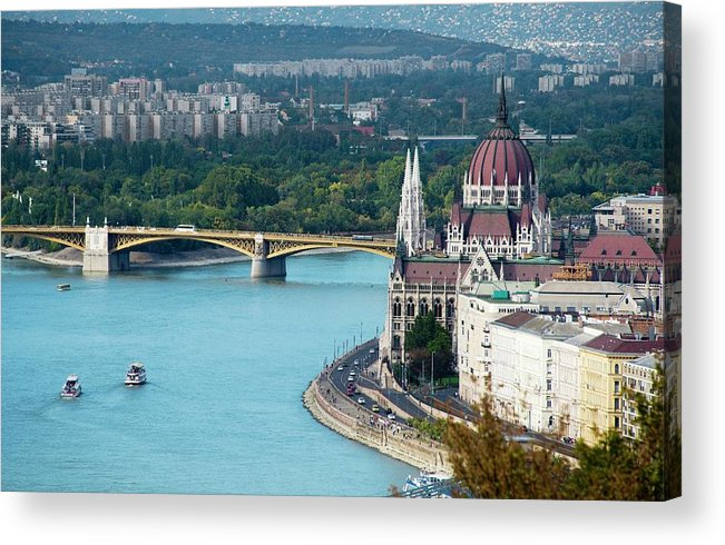 Arch Acrylic Print featuring the photograph Hungarian Parliament Building by Paul Biris
