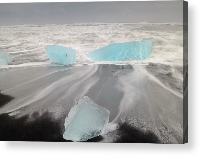 Scenics Acrylic Print featuring the photograph Icebergs Washed Up On Volcanic Sandy by Travelpix Ltd