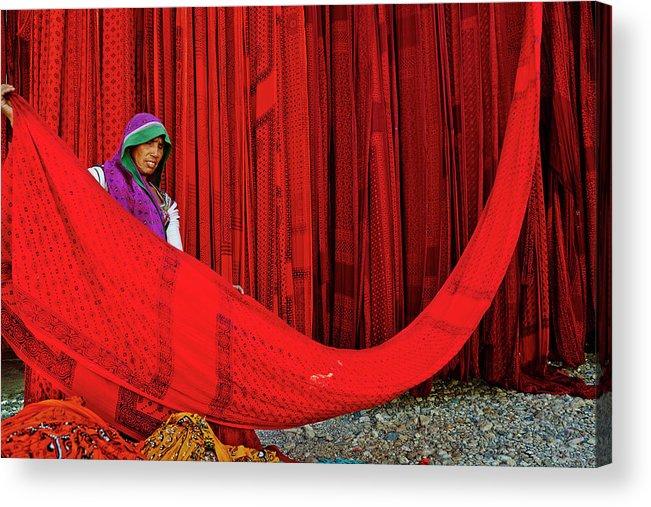 Expertise Acrylic Print featuring the photograph India, Rajasthan, Sari Factory by Tuul & Bruno Morandi