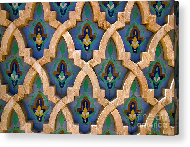Zelij Acrylic Print featuring the photograph Intricate Zelji at the Hassan II Mosque Sour Jdid Casablanca Morocco by PIXELS XPOSED Ralph A Ledergerber Photography