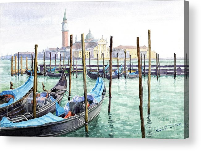 Watercolor Acrylic Print featuring the painting Italy Venice Gondolas Parked by Yuriy Shevchuk