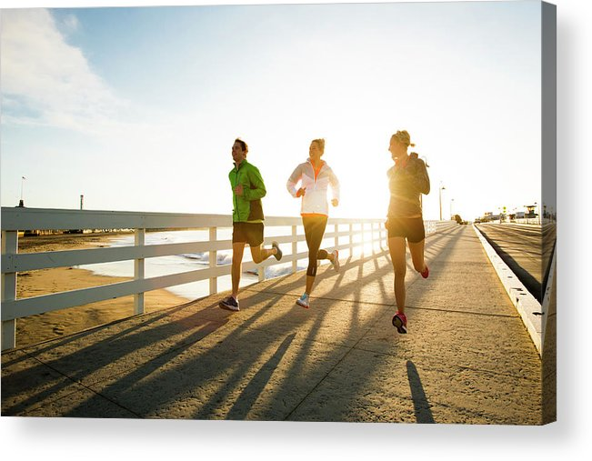 Young Men Acrylic Print featuring the photograph Jogging Along The Coast by Jordan Siemens